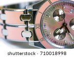 luxury woman pink watch. macro... | Shutterstock . vector #710018998