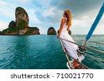 joyful young woman portrait.... | Shutterstock . vector #710021770