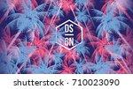 tropical palm tree retro mosaic ...   Shutterstock .eps vector #710023090