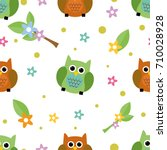 seamless tiling cute and... | Shutterstock .eps vector #710028928