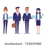 business team flat vector... | Shutterstock .eps vector #710029480