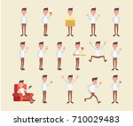 young guy in different poses.... | Shutterstock .eps vector #710029483