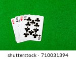 4 of a kind playing cards Tens - stock photo