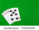 4 of a kind playing cards Seven - stock photo