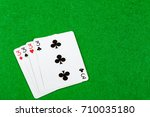 4 of a kind playing cards Threes - stock photo