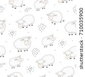 cute seamless pattern with... | Shutterstock .eps vector #710035900