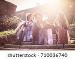 three best friend after...   Shutterstock . vector #710036740