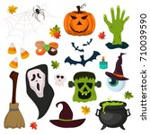 halloween magic trick or treat... | Shutterstock .eps vector #710039590