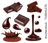 set of chocolate objects for... | Shutterstock . vector #710041270