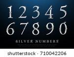 set of elegant silver colored... | Shutterstock .eps vector #710042206