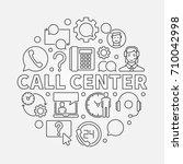 call center round illustration. ... | Shutterstock .eps vector #710042998