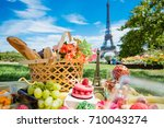 picnic in paris with wine ...   Shutterstock . vector #710043274