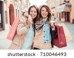 outdoors fashion portrait of... | Shutterstock . vector #710046493