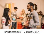 multiethnic young couples... | Shutterstock . vector #710050114