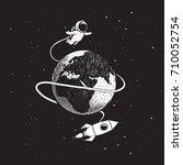 cute astronaut flying around... | Shutterstock .eps vector #710052754