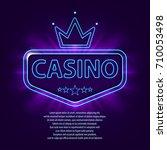 banner with neon frame. casino... | Shutterstock .eps vector #710053498