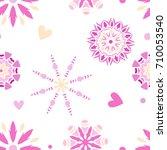 seamless tiling romantic ... | Shutterstock .eps vector #710053540