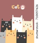 cute pattern cat | Shutterstock .eps vector #710057626