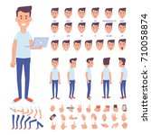 front  side  back view animated ... | Shutterstock .eps vector #710058874