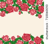 pattern of red roses. for used... | Shutterstock .eps vector #710060050