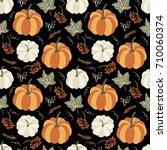 autumn seamless pattern with... | Shutterstock .eps vector #710060374