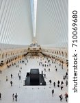 Small photo of NEW YORK CITY - AUGUST 23: interior of the WTC Transportation Hub on August 23, 2017 in New York City, USA. The main station house, the Oculus, and the terminal was renamed the WTC Transportation Hub