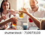 dinner dining wine cheers party ... | Shutterstock . vector #710073133