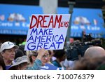 Small photo of New York City - September 5, 2017: People protesting President Trump's decision to repeal the Deferred Action for Childhood Arrivals (DACA) policy in Lower Manhattan.