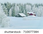 Cottage Houses At Winter...