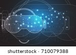 virtual reality in life future... | Shutterstock .eps vector #710079388