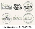 collection of six detox drinks... | Shutterstock .eps vector #710085280