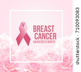 pink ribbon sign and breast...   Shutterstock .eps vector #710093083