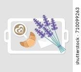 breakfast in bed. top view.... | Shutterstock .eps vector #710099263
