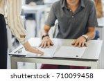 group of high school students... | Shutterstock . vector #710099458