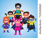 super hero with mask and cape...   Shutterstock .eps vector #710104063