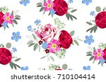 Stock vector seamless pattern with bouquets of roses 710104414