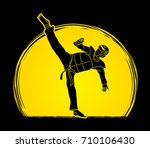 taekwondo kick action with... | Shutterstock .eps vector #710106430