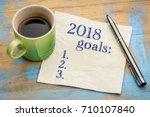 2018 year goals list on a... | Shutterstock . vector #710107840