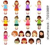vector of little girls  woman ... | Shutterstock .eps vector #71010889