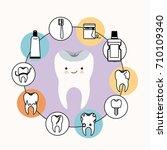 kawaii caricature healthy tooth ...