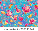 Seamless Pattern With Pink Blu...