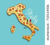 vector illustration of pizza... | Shutterstock .eps vector #710114506