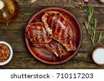 grilled pork rib chop steak in... | Shutterstock . vector #710117203