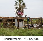 house destruction from powerful ... | Shutterstock . vector #710122738