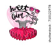 t shirt design with red girlish ... | Shutterstock .eps vector #710122978