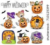 cute halloween set with cartoon ... | Shutterstock .eps vector #710125399