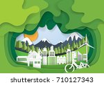green eco living with cityscape ... | Shutterstock .eps vector #710127343