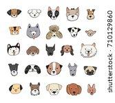 dog face funny cartoon doodle... | Shutterstock .eps vector #710129860