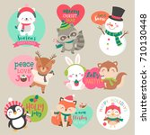 Stock vector set of cute cartoon christmas characters for sticker badges card tag design 710130448