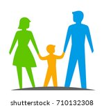 parents with a child on a white ... | Shutterstock .eps vector #710132308